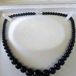 Collana donna in vera agata nera onice pietra dura naturale perle graduate 6-14 mm chakra cristalloterapia