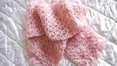 Morbidissima  scaldacollo sciarpa in in lana rosa lavorata a mano