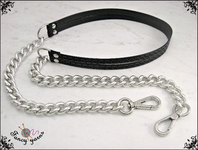 Tracolla per borsa lunga cm. 85 - doppia similpelle nera con glitter, catena e moschettoni argento