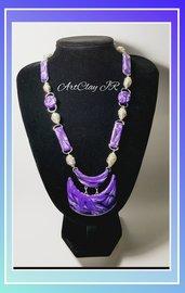 Collana elegante viola con perle in alluminio fatta a mano
