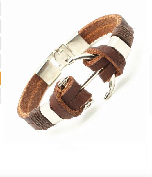 bracciale braccialetto uomo in pelle marrone con chiusura acciaio nautico ancora