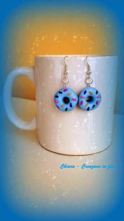Orecchini in fimo ciambelle azzurre con cri cri, idea regalo ragazza, regalo teenager, regalo compleanno, orecchini kawaii, gioielli kawaii