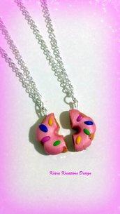 Collane in fimo ciambella rosa con cri cri, regalo migliore amica, regalo teenager, collana kawaii, gioielli kawaii, miniature, dolcetti