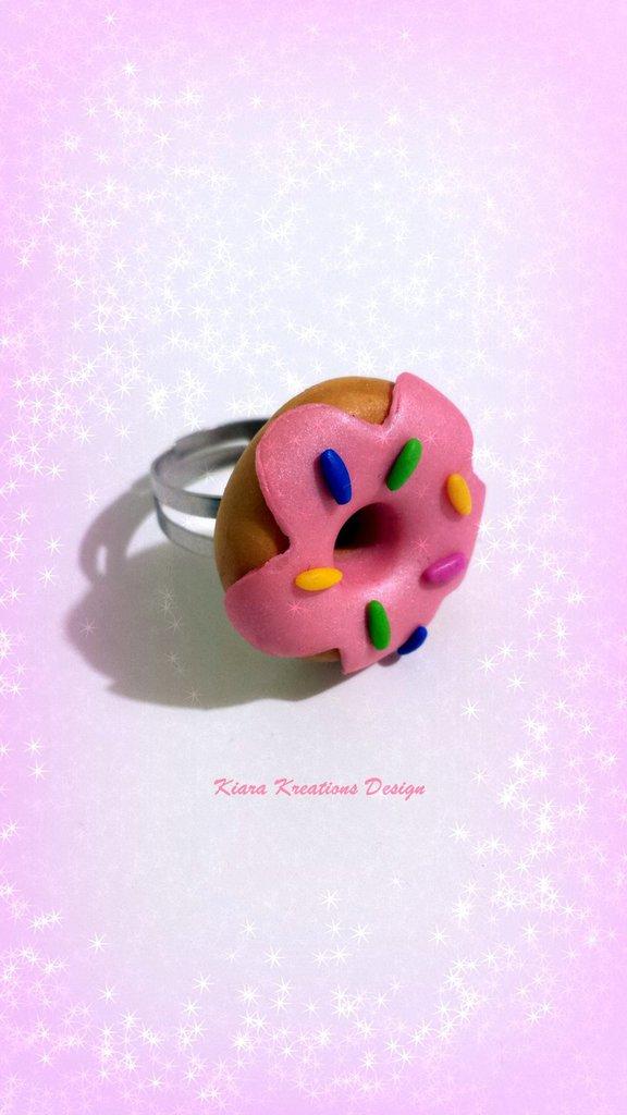 Anello in fimo ciambella rosa con cri cri, regalo migliore amica, regalo teenager, anello kawaii, gioielli kawaii, miniature, dolcetti