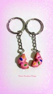 Portachiavi in fimo ciambella rosa con cri cri, regalo migliore amica, regalo teenager, portachiavi kawaii, miniature, dolcetti
