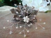 Fermaglio gioiello accessori acconciature  sposa perle cristalli Swarovski