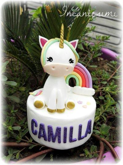 Cake topper Unicorno, decorazione torta compleanno, regalo per bambina, bomboniera compleanno