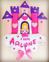 Fiocco nascita principessa nel castello bimba princess