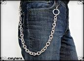 Catena per pantaloni e jeans, in maglia forzatina ovale colore argento, lunga cm.55, idea regalo - Italyhere
