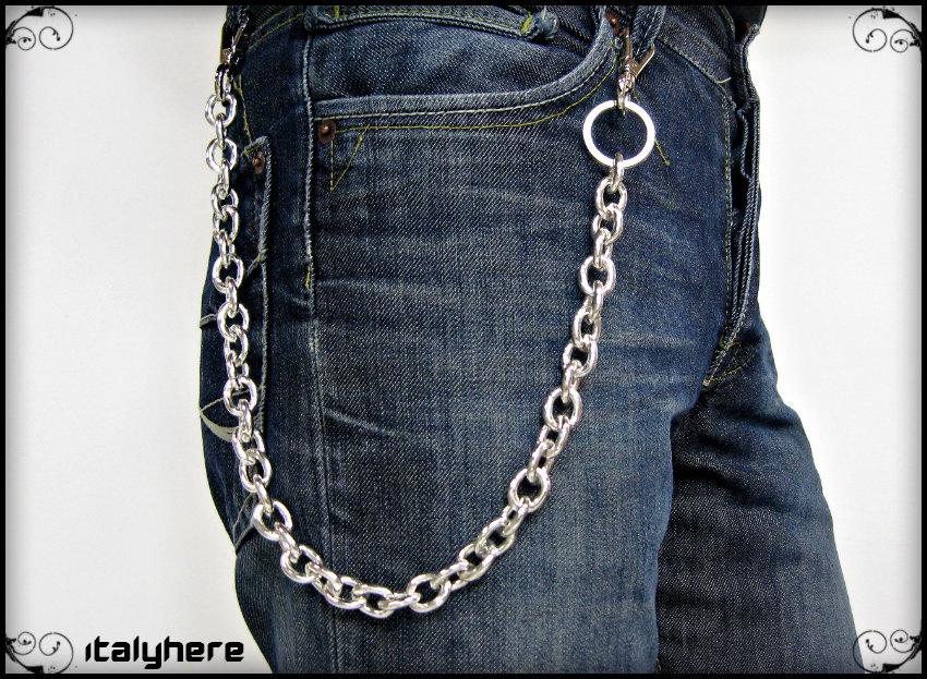 Catena portachiavi o portafoglio per uomo, in maglia ovale colore argento, lunga cm.55