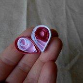 Spilla con cuore di carta bianco e rosso • Cuore quilling • Regalo di San Valentino