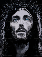 Capoletto capezzale moderno Gesù di Nazaret pop art arte sacra dipinto a mano