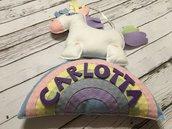 Fiocco Nascita personalizzato con unicorno su arcobaleno