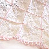 Copertina Neonata baby bianco e rosa pizzo - fatta a mano