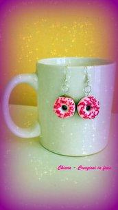 Orecchini in fimo ciambelle rosa con cri cri, idea regalo ragazza, regalo teenager, regalo compleanno, orecchini kawaii, gioielli kawaii