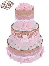 Torta di pannolini con decorazioni in feltro e pannolenci rosa