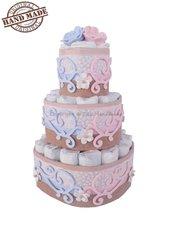 Torta di pannolini, rosa e azzurra, per coppia di gemelli
