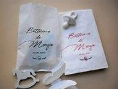 20 Sacchetti portariso ,portaconfetti in carta bianca per confettata personalizzati ,nascita,battesimo nozze, 18 anni,nozze d'argento,feste di compleanno