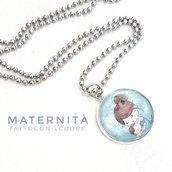 Collana girocollo con ciondolo cabochon Maternità realizzato da Fattoconilcuore