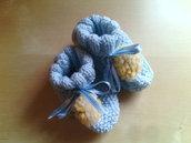 scarpine lana neonato ai ferri celeste azzurro  - regalo nascita - scarpette ai ferri