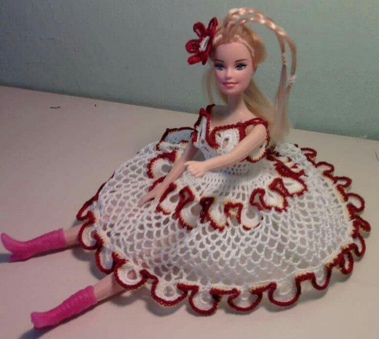 Barbie abito all'uncinetto fatto a mano, regalo natale bambina