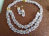 Collana perline con braccialetto e orecchini
