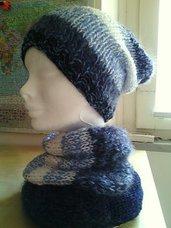 scaldacollo e berretto in lana ai ferri - sciarpa ad anello fatta a mano - berretta morbida