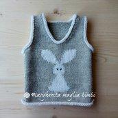 Maglia senza maniche/gilet neonato/bambino - coniglio -  fatto a mano  - lana/alpaca