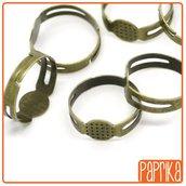 5 anelli bronzo base piatta 8mm