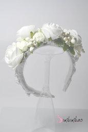cerchietto cerchiello cerimonia corona coroncina comunione battesimo cresima occasione elegante damigella matrimonio capelli .