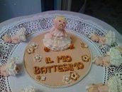 Cake topper con bebè in fimo per Battesimo o compleanno