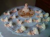 Bomboniere Bebè in fimo con gonna in pizzo per battesimo, nascita o compleanno