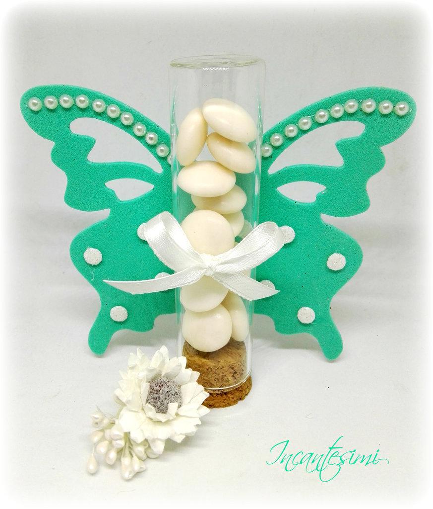 Ampolla in vetro con farfalla, bomboniera comunione, bomboniera matrimonio, bomboniera compleanno