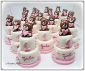 Minicake con orsette per il 1°Compleanno. Bomboniere in pasta di mais
