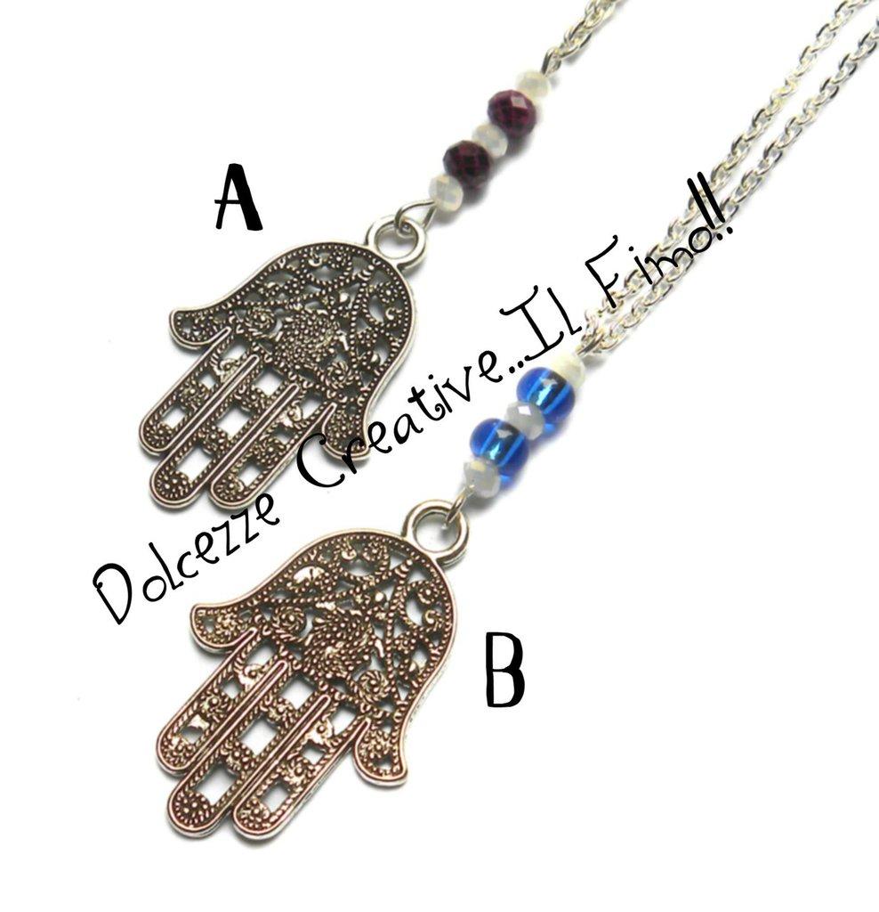 MODELLO B - Collana Mano di Fatima Con perle blu e rosa - handmade