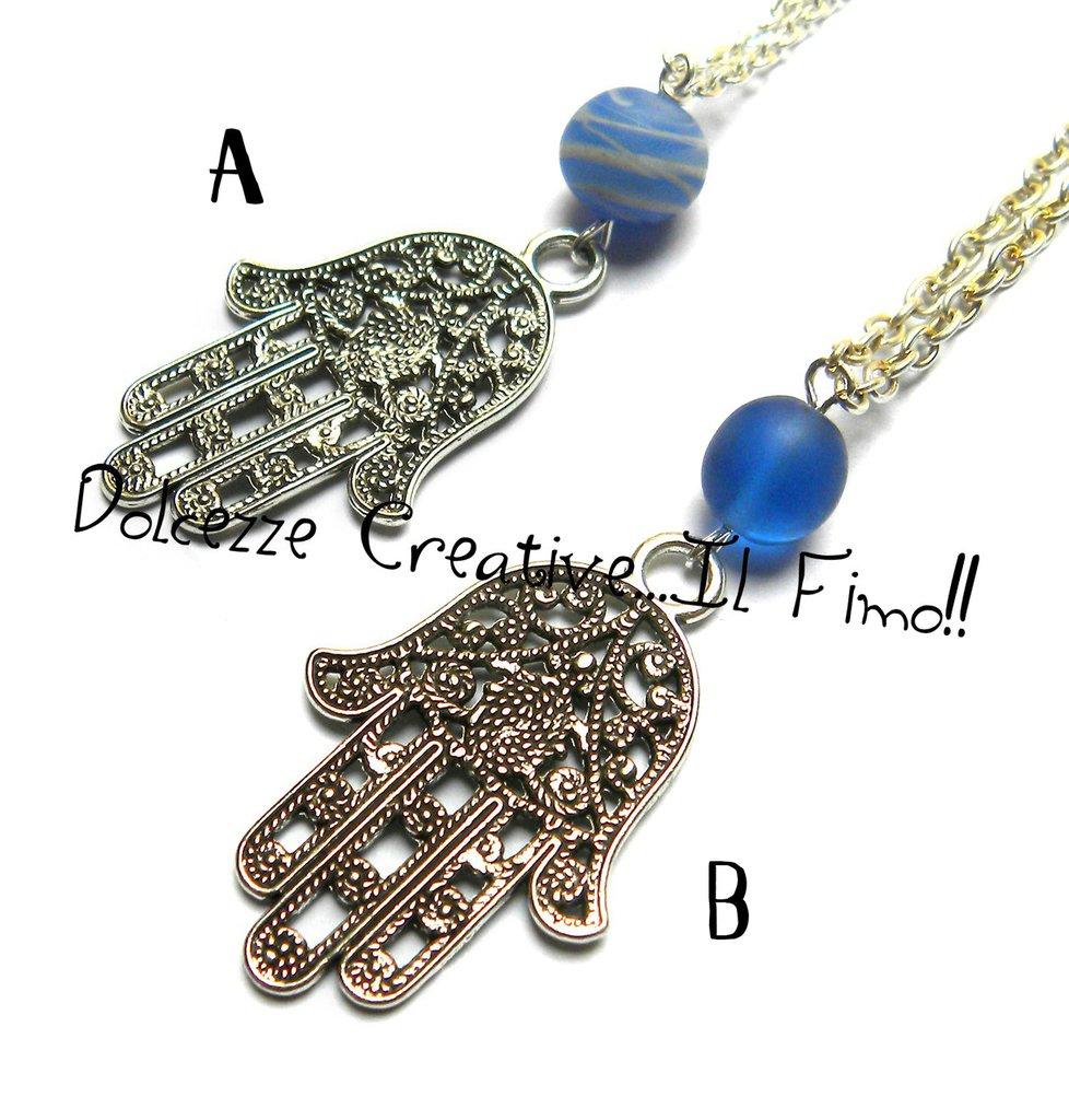 MODELLO B - Collana Mano di Fatima Con perla blu e perla blu rigata bianco - handmade