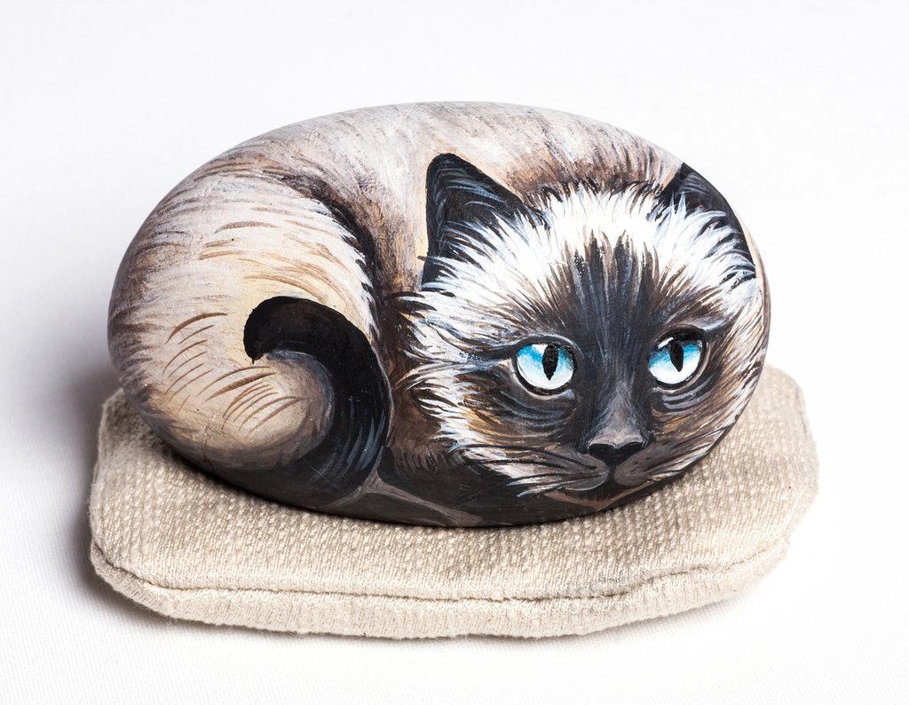 GATTO SIAMESE 2018 - pietra dipinta - opera d'arte - collezionismo - animali - felini