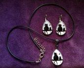 *Necklace + orecchini con gatti neri - Black cats necklace + earrings*
