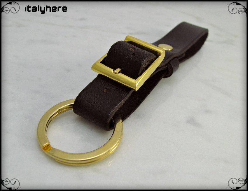 Portachiavi da cintura regolabile, vero cuoio - testa di moro, cm.11,5 - Finiture colore oro