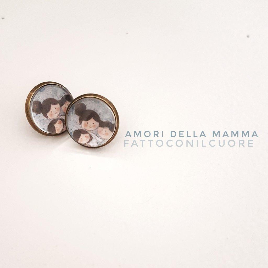 Orecchini a bottone linea amori della mamma  14mm