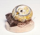 PULCINO SU BASE DI LEGNO - animali dipinti - uccelli - soprammobile - collezionismo - Pasqua