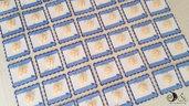 Card Art etichetta segnaposto battesimo bimbo quadrata smerlata 6 cm blu con piedini