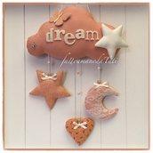 Fiocco nascita nuvola in cotone color rosa salmone con stelle,luna ,cuore e farfalla