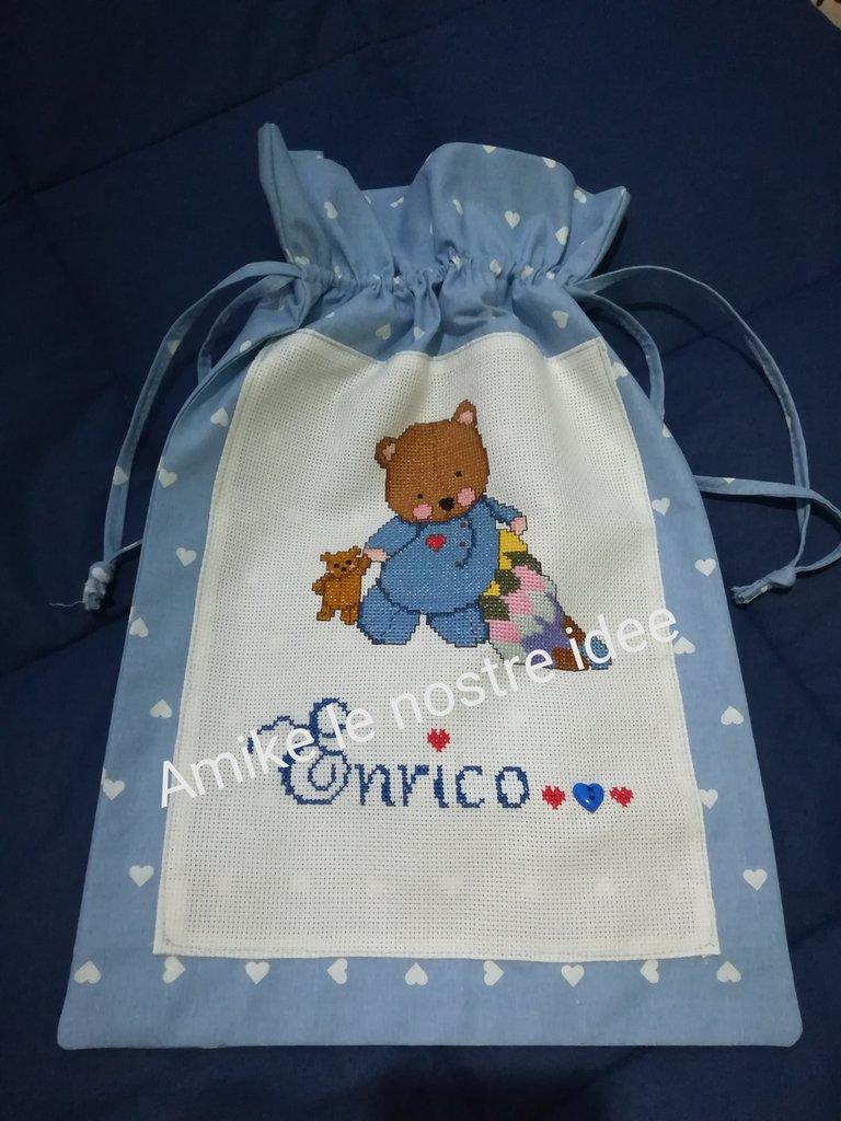 Sacchetto nascita personalizzato orsetto
