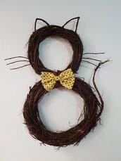 Gatto Decorativo con Papillon Giallo