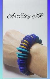 Bracciale elastico blu-giallo fatto a mano in pasta polimerica (fimo)