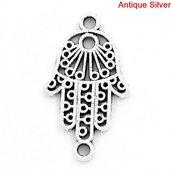 10 connettori Mano di Fatima tono argento