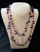 Collana 2 fili con goccia lunga corallo rosa