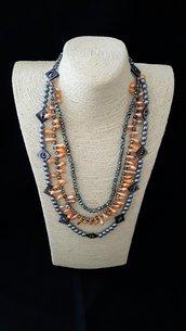Collana 3 fili a scalare grigio e arancio