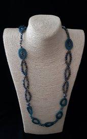 Collana lunga con creole ovali e cristallini